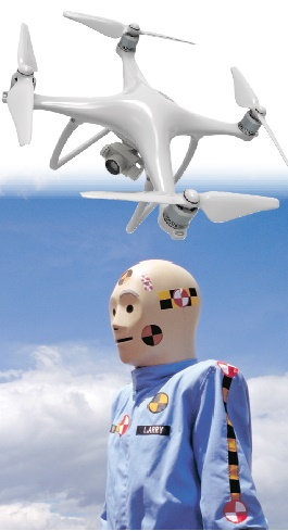 The resultant impact of a plastic rotary drone to the crash test dummy was between 9 foot-pounds and 233 foot-pounds, depending on the angle and speed of the falling drone. (Photos: Getty Images)