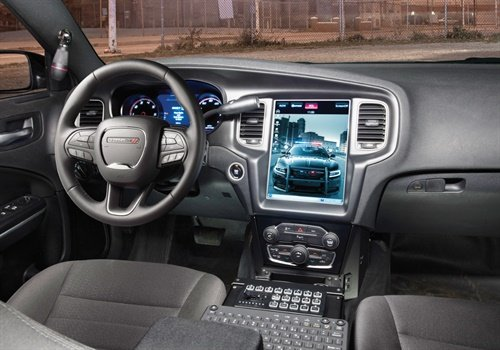 Dodge offers a built-in dash display system, Uconnect, to take the place of a laptop in the Charger's driver area. Photo: FCA