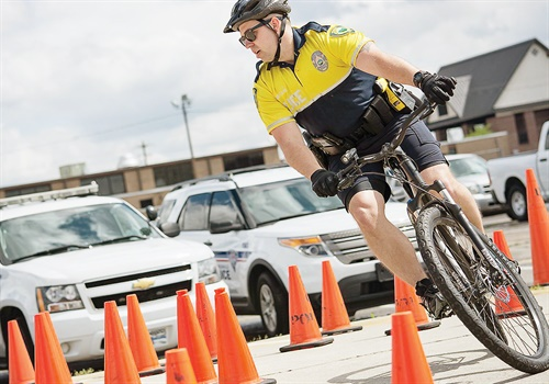 Aspiring bicycle officers must pass written and on-bike tests. Photo: South Carolina Department of Public Safety