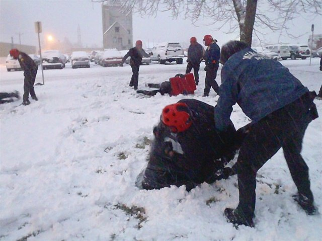 If you work in the snow, you need to train in the snow...and all other types of weather you might encounter while on the job. Photo by Dave Young.