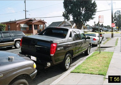 Officer Young first spotted Barrientos from this view on Auseon Avenue near this Chevy Avalanche truck. Photo: Alameda County D.A.