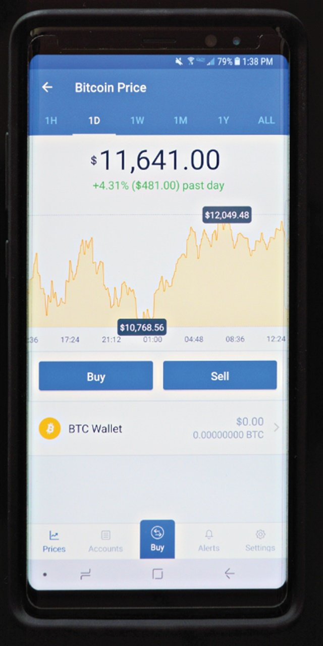 Coinbase is a popular app used to purchase Bitcoin. Photo: Aaron Strain