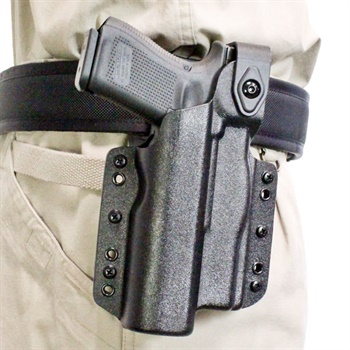 DeSantis' light-bearing Raptor holster is available in IWB and OWB versions. (Photo: Michael Hamann)