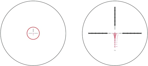 This diagram shows the two reticles on the Phantom T series. The left is at low magnification power. The small circle enlarges to the crosshair/drop reticle as the power ring is turned to increase magnification. Both are illuminated at all magnification power levels.
