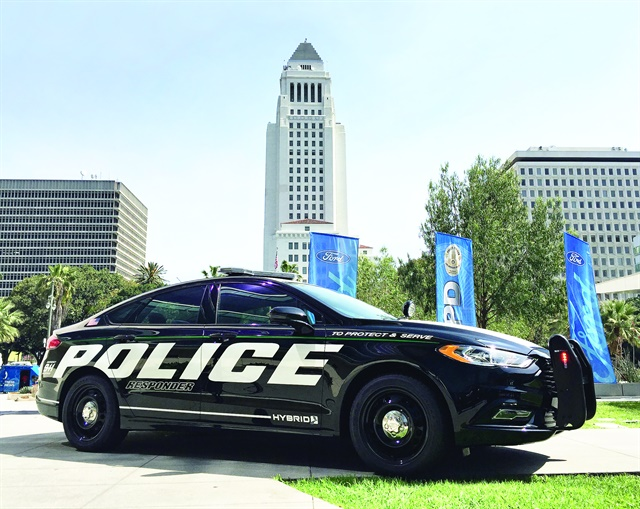 Ford's new hybrid Police Responder was introduced in April in downtown Los Angeles. Photo by Thi Dao.