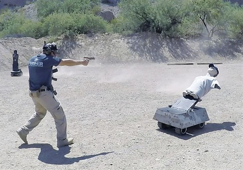 The Tactical Target drops when hit center mass but pops up again at command of the operator.