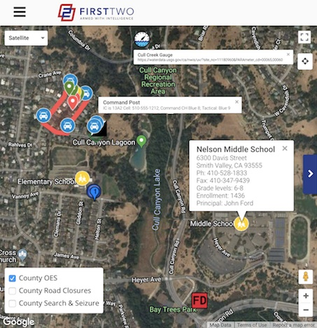 FirstTwo web-based software provides nationwide real-time information crucial for public safety on a map. Photo: FirstTwo