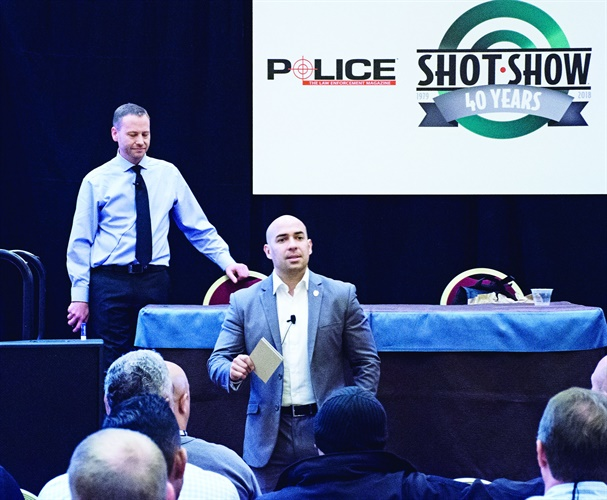 Andrew Gonzales, VP of Eastern Beacon Industries, leads a class on active shooter response at LEEP 2018. (Photo: Michael Hamann)