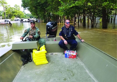 Most people picture boats when they think of citizens being rescued from flood waters after a hurricane hits. But all manner of vehicles can be repurposed to aid in rescue and recovery after a disaster. Photo: Houston PD/Flickr