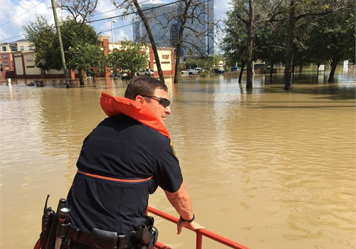 Houston Police Department officers worked 24-hour shifts during the height of Hurricane Harvey, only stopping when necessary to rest before starting again. Photo: Houston PD/Flickr
