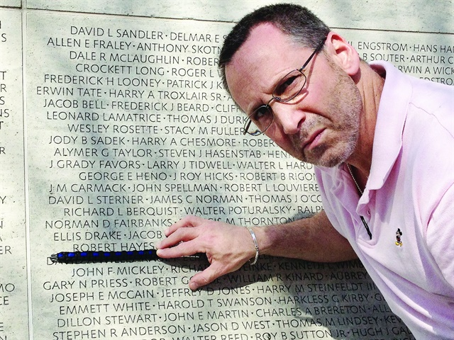 Dr. Sydney Vail visited the National Law Enforcement Officers Memorial, where he found the name of the one critically injured officer he couldn't save in surgery, Philadelphia PD Officer Robert Hayes. (Photo Courtesy of Sydney Vail)