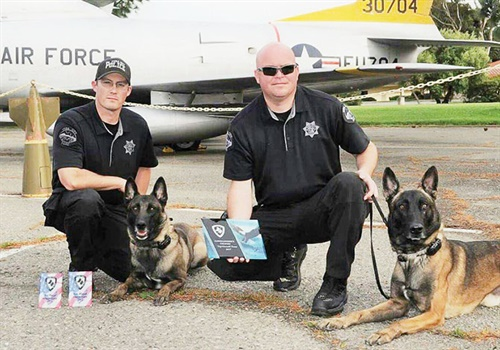 The Yuba City (CA) Police Department K-9 unit's I² night vision device allows Officer Kenny Sowles (right) to track his K-9 via the infrared collar he wears. (Photo: Yuba City PD)