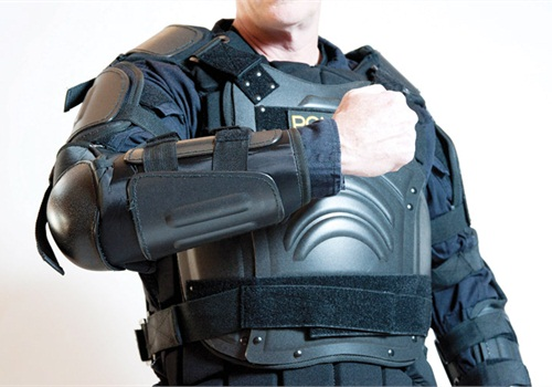 Damascus FlexForce Gear is a modular armor system that protects Scottsdale RRT officers from thrown projectiles. Photo: Mark W. Clark