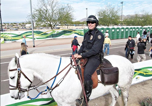"""Officer Aaron Bolin riding Aiden at the 2014 Waste Management Phoenix Open. A lot of people ask him, """"How tall is that horse?""""(Photo: Jason Ponder)"""