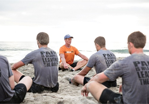 Commander Mark Divine leads athletes through a Box Breathing exercise. (Photo Courtesy of Mark Divine)
