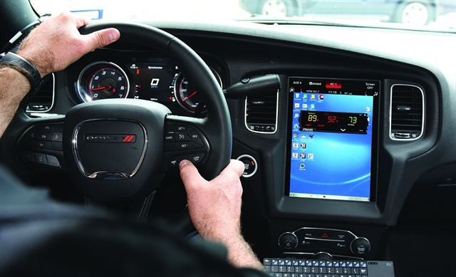 With Stalker Radar's Virtual Display, officers use steering wheel buttons and a vehicle's touch screen to oparate radar.