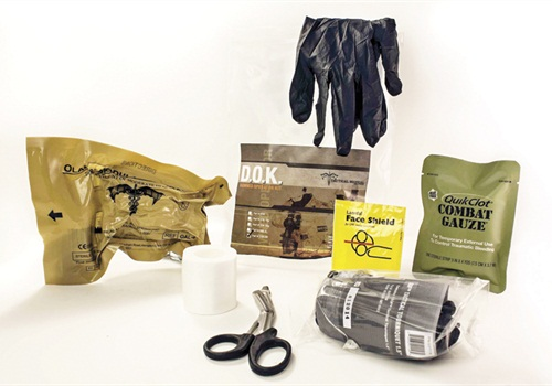 Tactical Medical Solutions' Downed Officer Kit contains seven potentially life-saving first-aid supplies in a sealed pouch. Photo: Tactical Medical Solutions