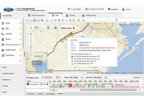 This screen shot from Telogis Ford Telematics shows some of the information that the system captures. (Photo: Telogis)