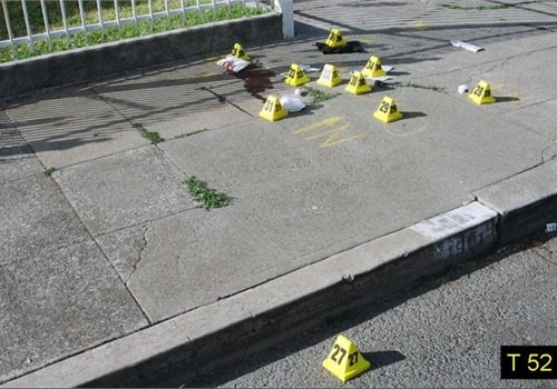 The sidewalk where Oakland officers performed trauma care on Officer Young. Photo: Alameda County D.A.