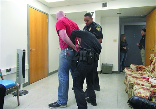 Arrestees are less likely to resist if they know they are outnumbered. (Photo: Michael Schlosser)