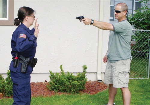 """If you tell a suspect with his hands in his pockets, """"Show me your hands,"""" he could draw a gun too quickly for you to react. Photo: Howard Webb."""