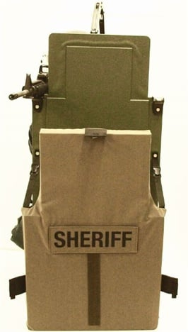 Baker Ballistics' MRAPS-IV-XL rifle shield with NIJ IIA soft armor cover.