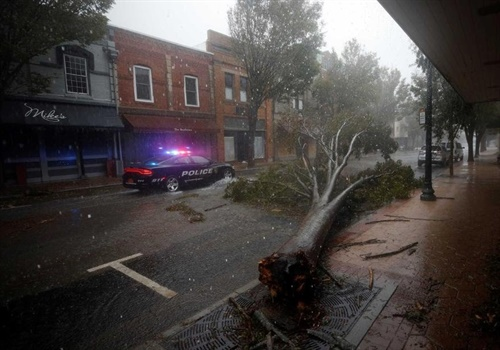 New Bern officers dealt with flooded and tree-blocked streets as they tried to help residents affected by the storm. Photo: New Bern (NC) PD