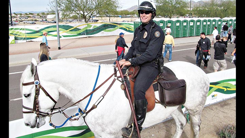 Officer Aaron Bolin riding Aiden at the 2014 Waste Management Phoenix Open. A lot of people ask...