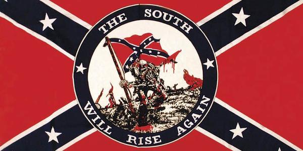 White supremacist symbols, like the one, often incorporate Confederate flags