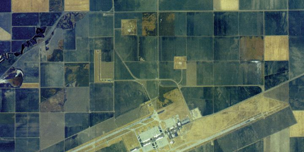 An aerial shot of the LeMoore Naval Air Station shooting range in California, which covers 420...