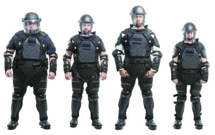 Sirchie's TacCommander riot control suit adjusts to fit and protect officers of all sizes. - Photo: Sirchie