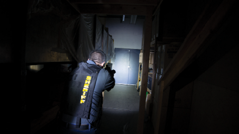 When conducting a search with a flashlight, you still face threats from areas that are not...