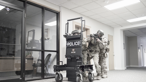 Special Ops Bunker's SOB gives officers portable ballistic protection. Photos: Special Ops Bunker.