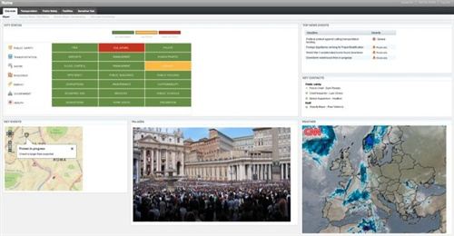 Personnel can gain a quick, multi-department summary of events (upper left) and drill down to manage events and incidents as they occur.