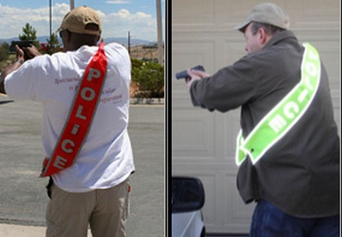The DSM Safety Banner provides instant identification for an officer responding in plainclothes. Photo: DSM Safety Products.