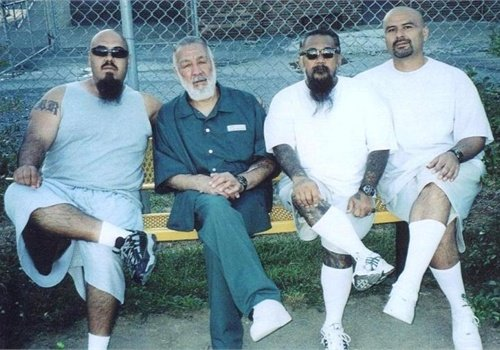 "Peter ""Sana"" Ojeda (second from l.) is seen in federal prison with his Mexican Mafia  ""carnals"" (brothers). Photo: Richard Valdemar."