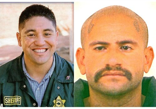 "LASD Deputy Jerry Ortiz (left) and Varrio Hawaiian Gardens gang member Jose Luis ""Sepy"" Orozco."