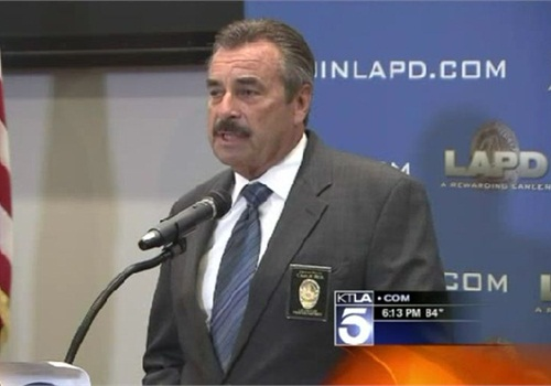 LAPD Chief Charlie Beck addresses the media regarding two officer shootings. Screenshot via KTLA.