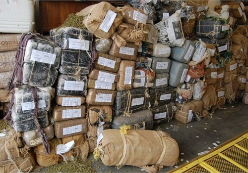 Mexican drug cartels smuggle marijuana into the U.S. in bundles like these. Photo by Paul Clinton.