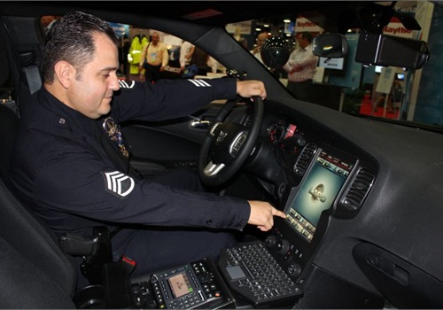 Sgt. Dan Gomez shows off the LAPD's next-gen Dodge Charger. Photo: Paul Clinton