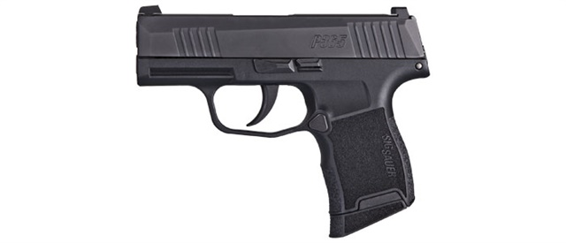 SIG's P365 is small but it packs a lot of firepower. This 9mm, striker-fired pistol features a modified double-stack magazine that holds 10 rounds in both the flush-fit and extended versions.