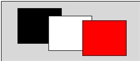 Here we have black, white, and red cards in front of a gray panel, illuminated by white light.