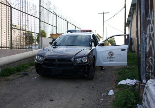 LAPD Rampart's SPU tests new equipment such as a V-8 Dodge Charger. Photo by Blake Bobit.