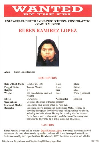 Ruben Lopez-Ramirez, a known associate of the Mexican Mafia, was arrested and charged with the murder of a fellow Lowrider.