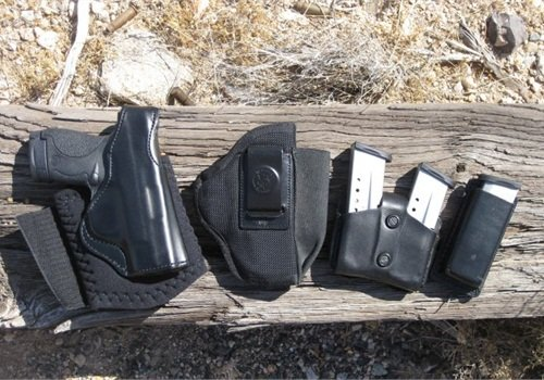 The Shield with DeSantis' Die Hard Ankle Rig, N87 Pro Stealth holster, A01 double-mag pouch, and A47 single-mag pouch. Photo courtesy of Nick Jacobellis.
