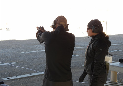 Attendee at the SIG Sauer range event prepares to open fire with the P320 RX.