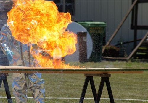"""A MSS trooper demonstrates the explosive power of the """"one-pot"""" method. Photo courtesy of ISP."""