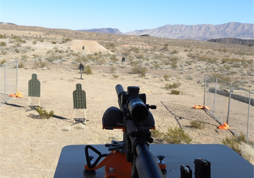 Looking down range down the barrel of the Savage MSR 10.