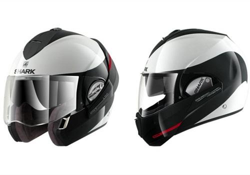 The Shark Evoline modular helmet offers greater protection than a three-quarter helmet. Photo via Shark.