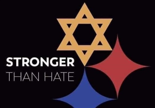 "After the rampage at the Tree of Life Congregation Synagogue that left 11 dead and six wounded, a 40-year-old artist named Tim Hindes posted to social media a rendering of the Pittsburgh Steelers logo with the yellow four-pointed star on the helmet replaced by the Star of David—accompanied by the phrase ""Stronger than Hate."" Image courtesy of Tim Hindes / Facebook."
